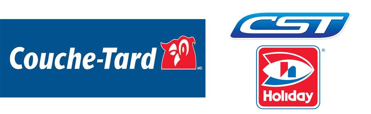Logos for Couche-Tard, CST Brands and Holiday Cos.