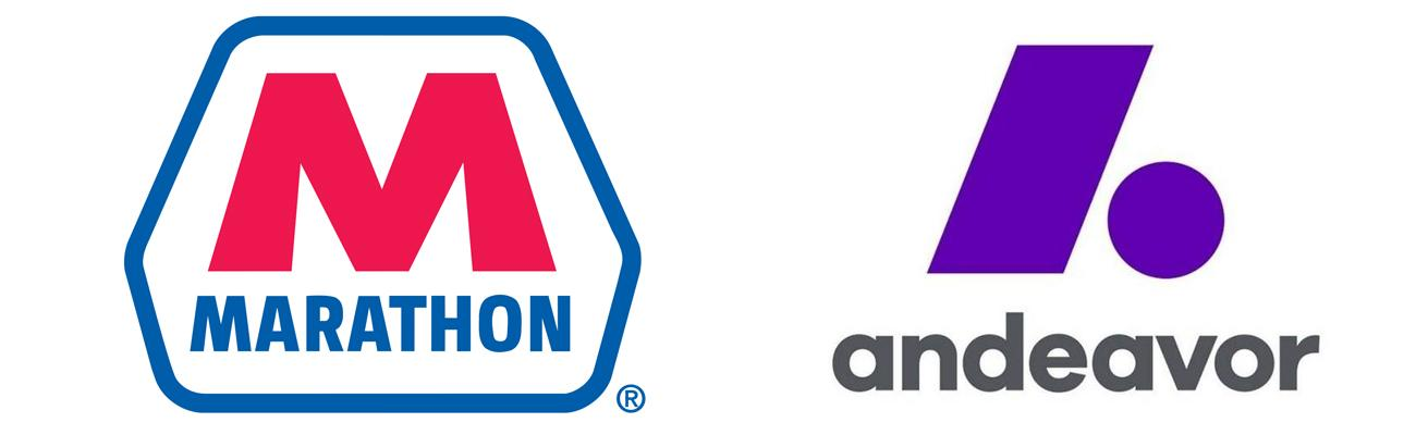 Logos for Marathon Petroleum and Andeavor