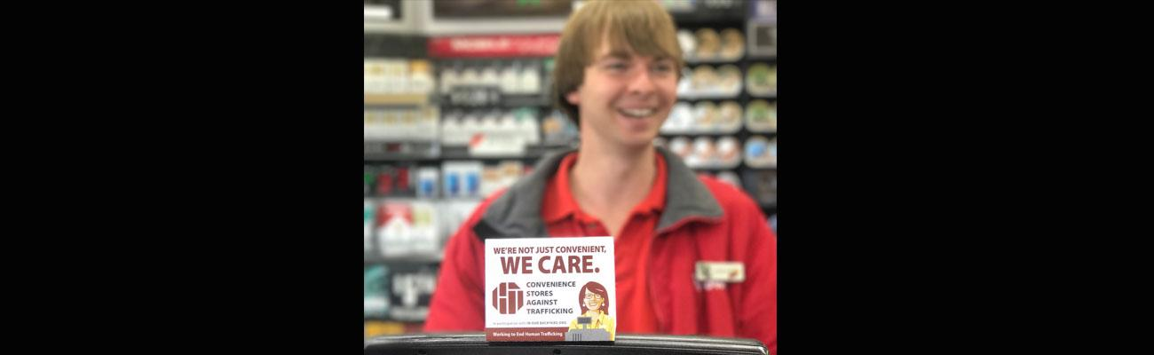 We Care human trafficking sticker at checkout