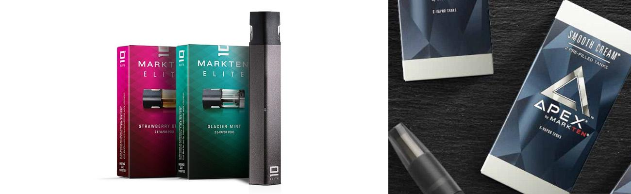MarkTen Elite and Apex e-vapor products