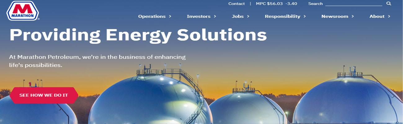 Marathon Petroleum's new website homepage