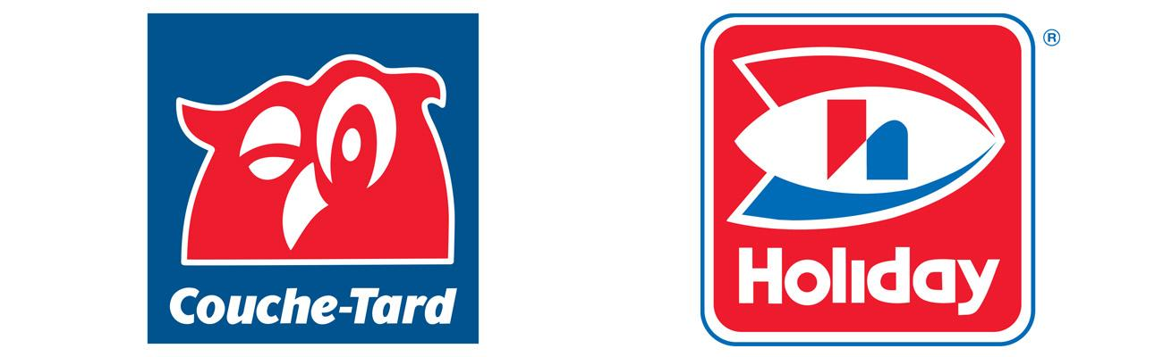 Alimentation Couche-Tard and Holiday Cos. logos