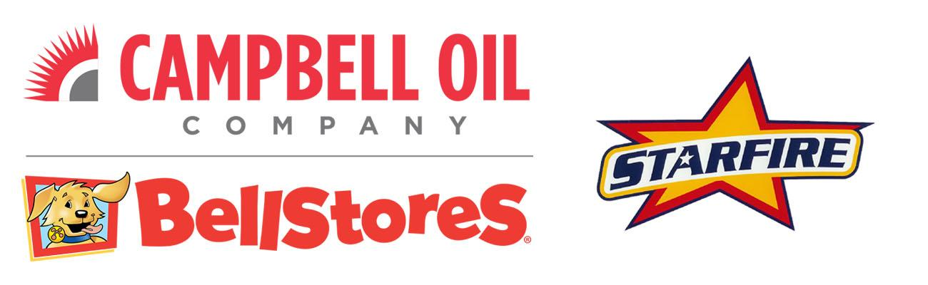 Logos for Campbell Oil, BellStores and Starfire stores