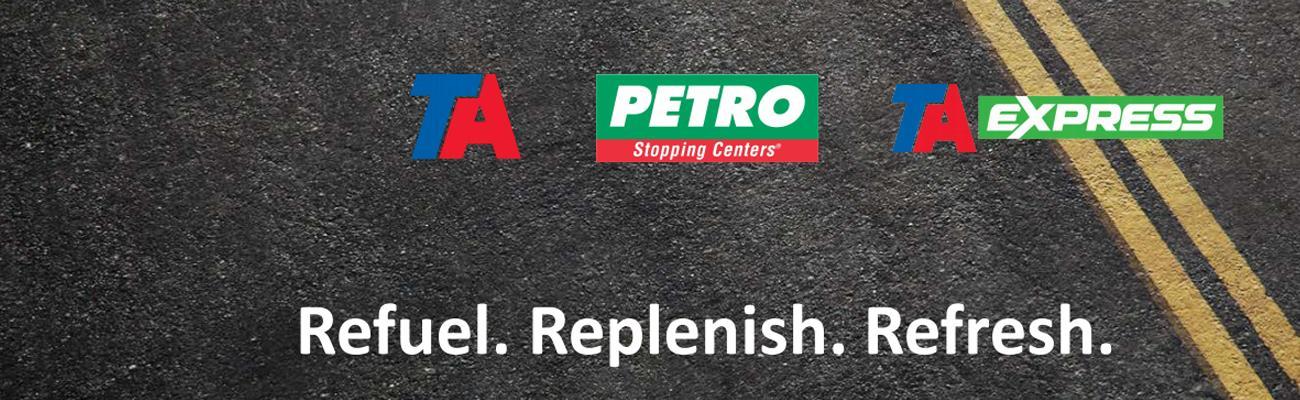 Logos for TA, Petro and TA Express travel centers