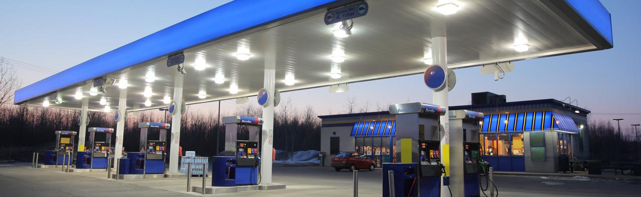 the exterior of a convenience store and gas station