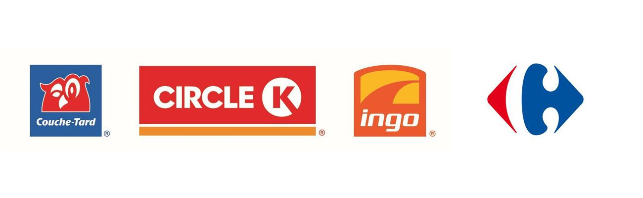 Logos for Couche-Tard retail brands and Carrefour