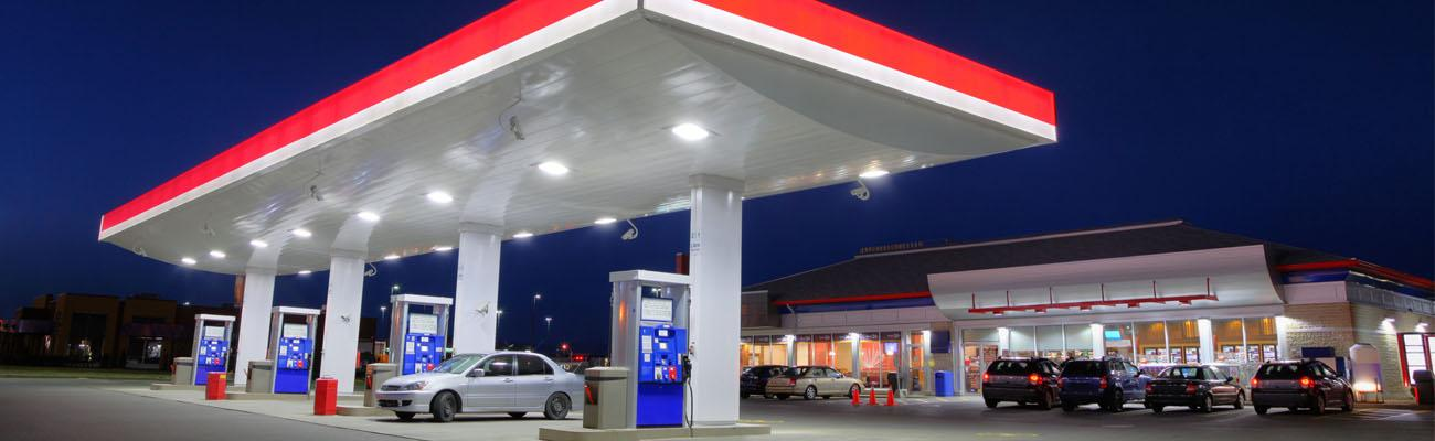 A gas station at a convenience store