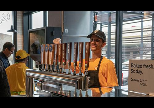 Novelty beverages such as nitro cold brew, kombucha and organic teas are on tap.