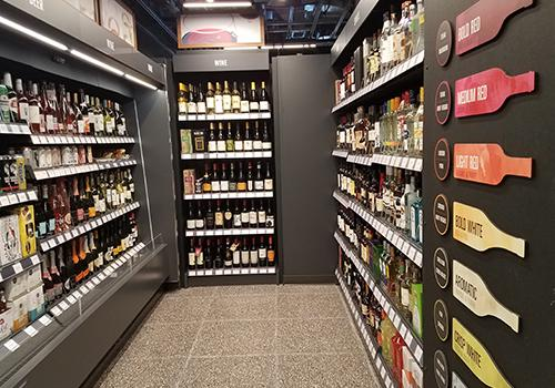 The beer and wine section is closed at certain times