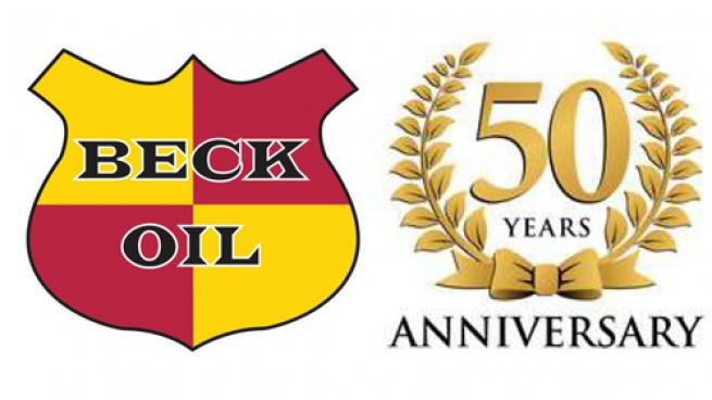Beck Oil logo combined with a 50th anniversary ribbon