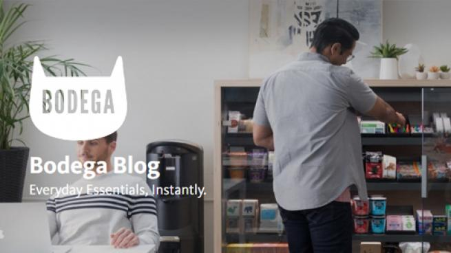 The homepage image from Bodega's website showing two guys and one is using the Bodega store
