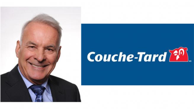Alimentation Couche-Tard Chairman Alain Bouchard and the company logo