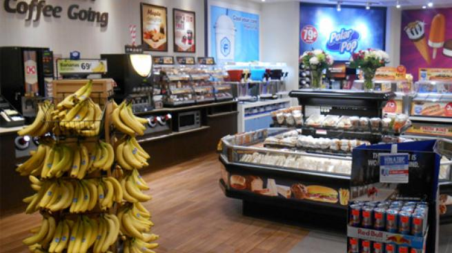 An image of grab and go food and dispensed beverages in a Couche-Tard store