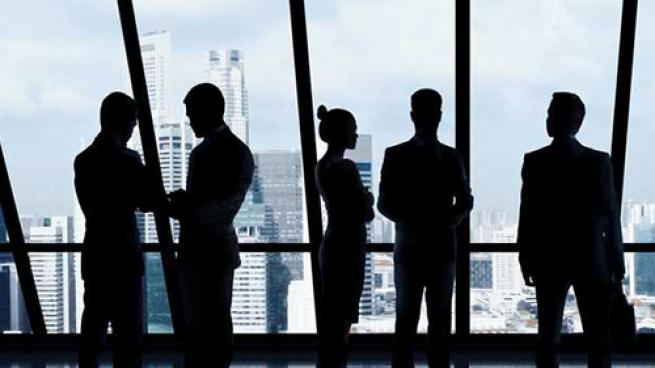 Buisness executives interacting in an office building