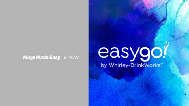 A slide introducing Mugs Made Easy as EasyGo! by Whirley-DrinkWorks!
