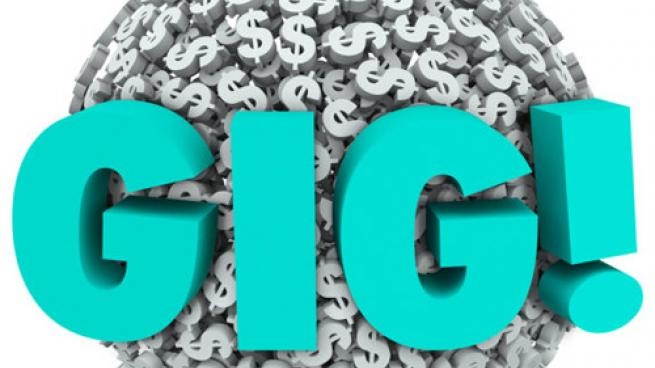 An image of dollar signs and the word GIG!