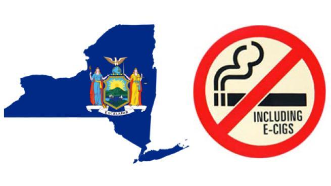 The map ad seal of New York state plus a no e-cigarette sue sign