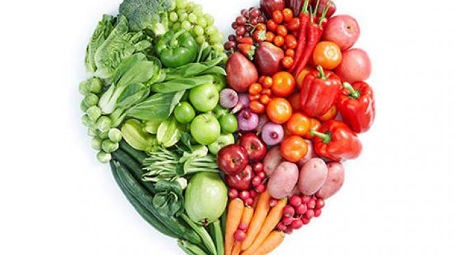 fruits and vegetables make up a food-shaped heart