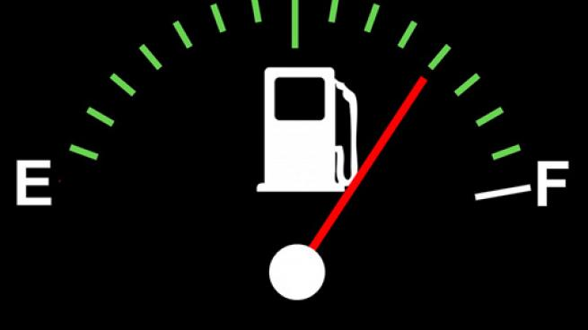 gas gauge pointing to half full