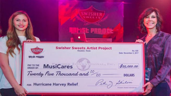 Swisher Sweets presents check to Music Cares