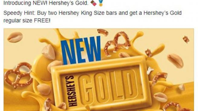 Speedway FB post for Hershey Gold