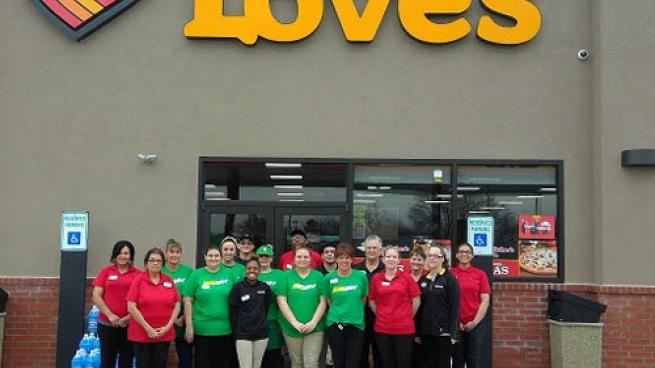 Team members prepare to greet customers at the new Love's Country Store in Wynnewood, Okla. on March 1.