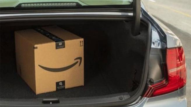 Amazon box in truck of car