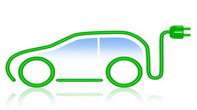 electric vehicle outline with plug-in