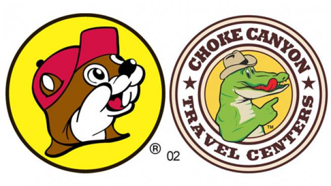 The logos for Buc-ee's and Choke Canyon travel centers