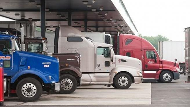 Trucks parked at a travel center