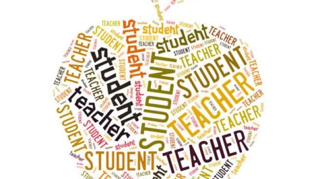 student & teacher apple