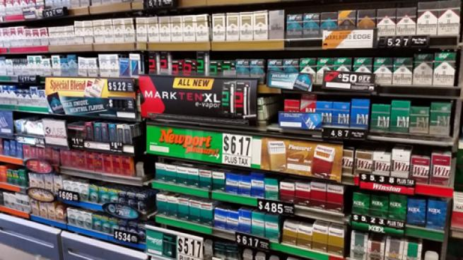 Tobacco section at a c-store