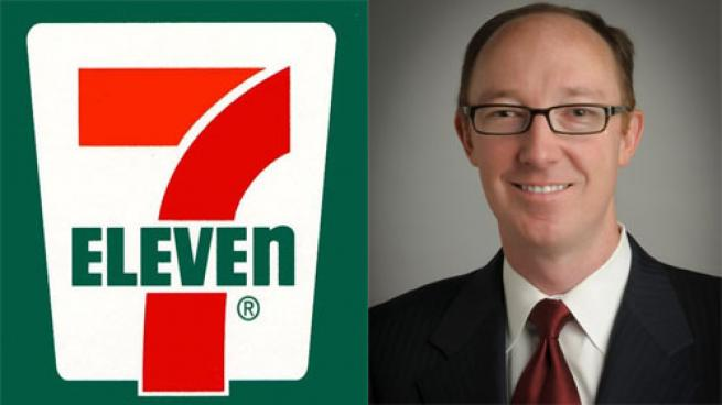 7-Eleven logo (l) and Jack Stout headshot