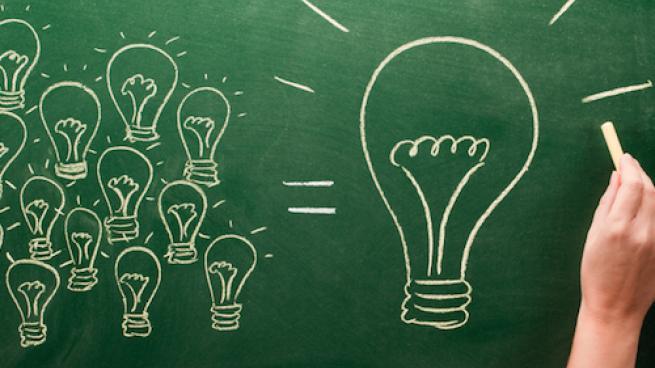 ideas on chalkboard