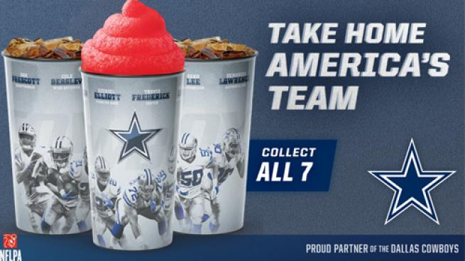 Dallas Cowboys collectible cups are available at select locations, like Stripes.