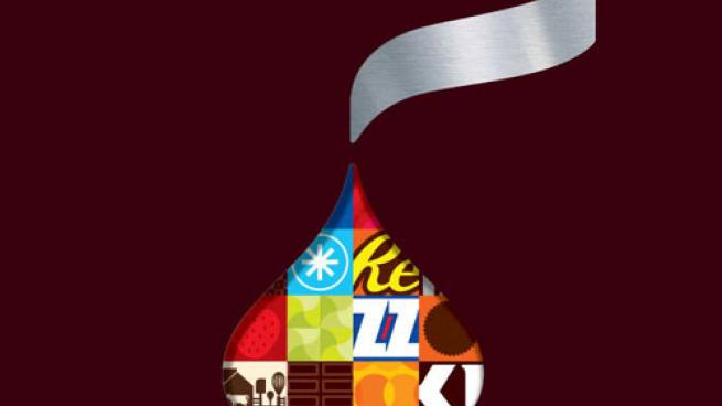 Hershey Kiss logo with Hershey brands