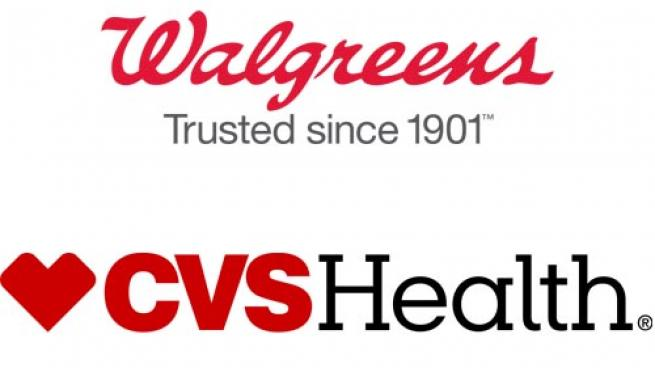 Logos for Walgreens and CVS