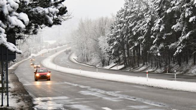 Traveling by car in the winter