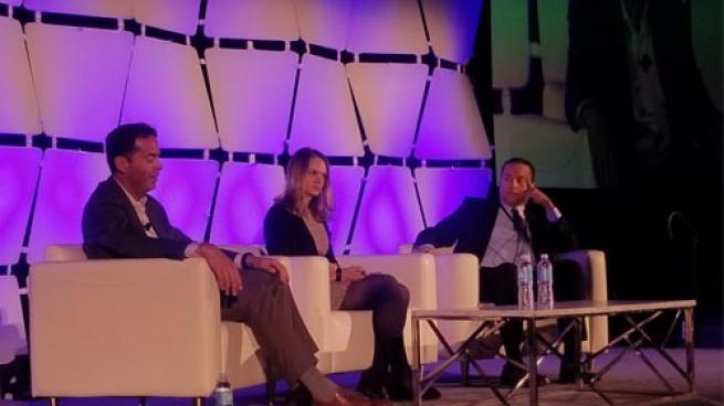 Chris Howard (l), Brittani Cushman and Dimitris Agrafiotis talk vapor at Tobacco Plus Expo 2020.