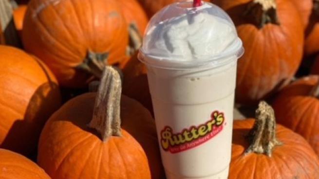 Rutter's Pumpkin Pie Milkshake with pumpkins
