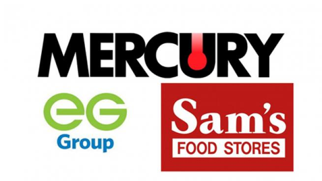 Logos for Mercury Fuel Services, EG Group and Sam's Food Stores