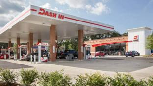 The exterior of a Dash In convenience store and gas station