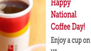 Happy National Coffee Day from Pilot Flying J with a picture of a coffee cup