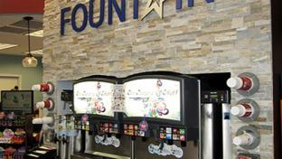 The fountain drink area of a Lone Star convenience store