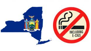 The map ad seal of New York state plus a no e-cigarette sue sign