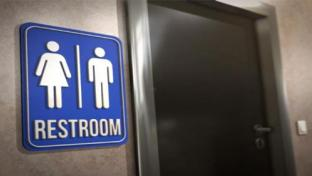 restroom sign and door