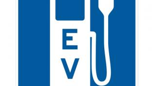 An electric vehicle charging station sign