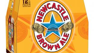 A 12-pack of Newcastle Brown Ale debuting its new look.