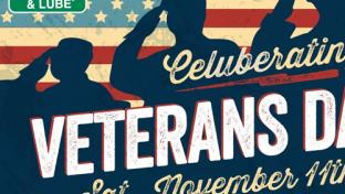 Flyer for Quaker Steak & Lube's Veterans Day promotion