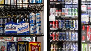 A convenience store beer cooler